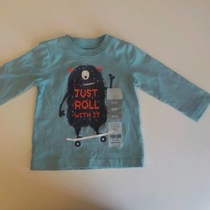 "6M Long Sleeve Tee Mint Monster ""Just Roll w/ It"""